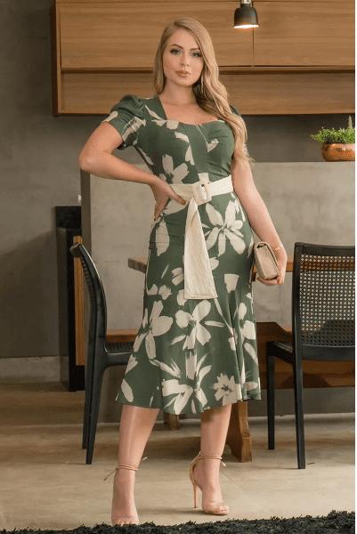 Vestido Em Viscose - Moda Evangélica Kauly (2946 E)