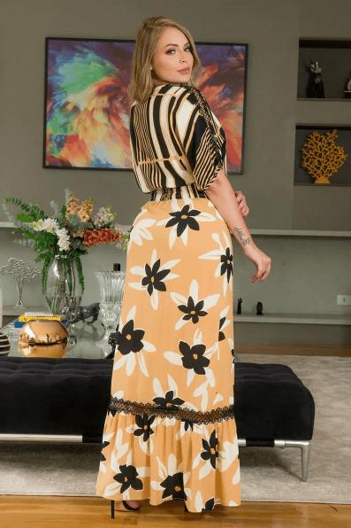 Vestido Longo Em Viscose - Moda Evangélica Kauly (2950 T)