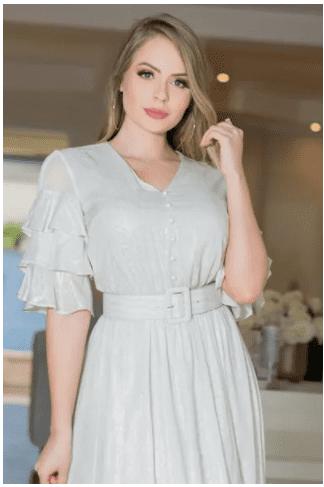 Vestido Em Viscose - Moda Evanvélica Lançamento Kauly (2896 T)