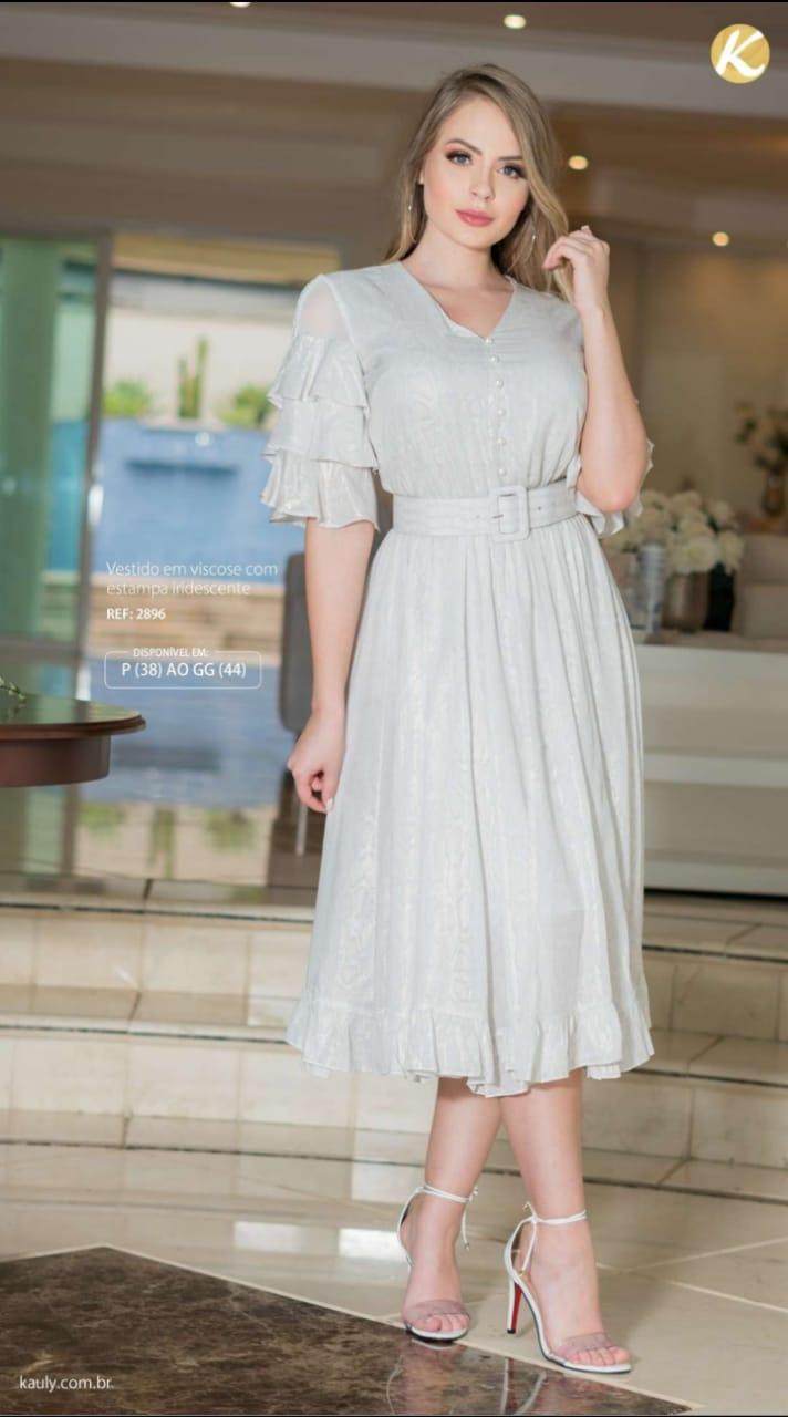 Vestido Em Viscose - Moda Evanvélica Lançamento Kauly (2896 E)