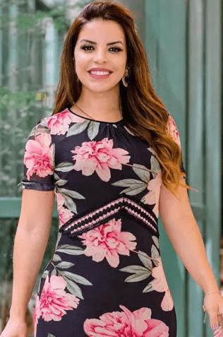Vestido emTule Recortes e Detalhes em Renda - Luciana Pais (92729 T)