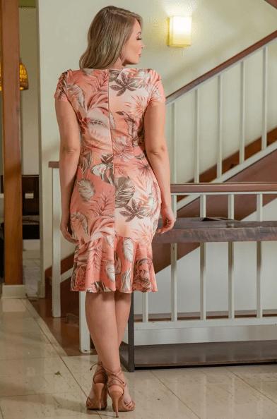 Vestido Estampado Malha Montaria - Moda Evangélica Kauly (3029 T)