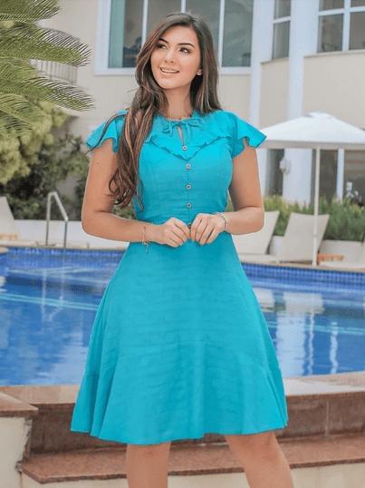 Vestido Evasê Babados - Moda Evangélica Joyaly (31090 E)