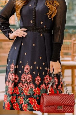 Vestido Evasê Manga Longa Gola Alta Luciana Pais (92733 E)
