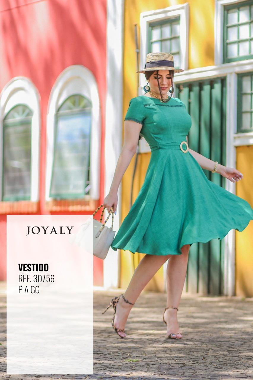 Vestido Gode C Cinto - Moda Evangélica Joyaly (30756 T)