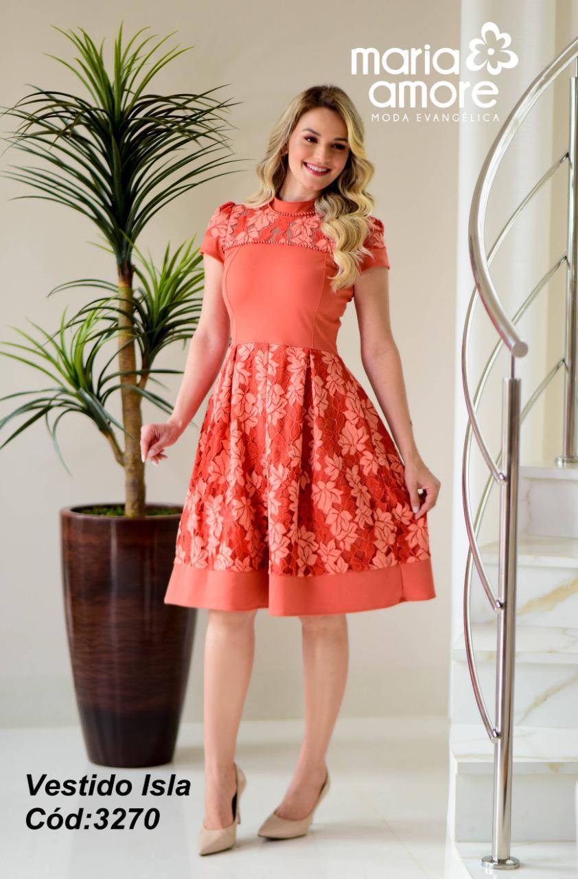 Vestido Gola Alta - Moda Evangélica Maria Amore (3270 E)