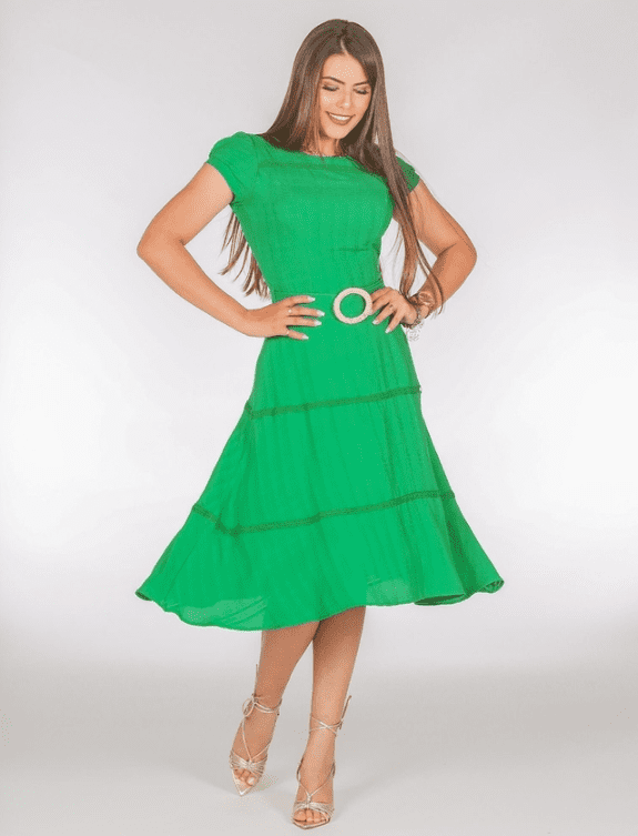 Vestido Grippir Sobreposto- Moda Evangélica Joyaly (30783 E)