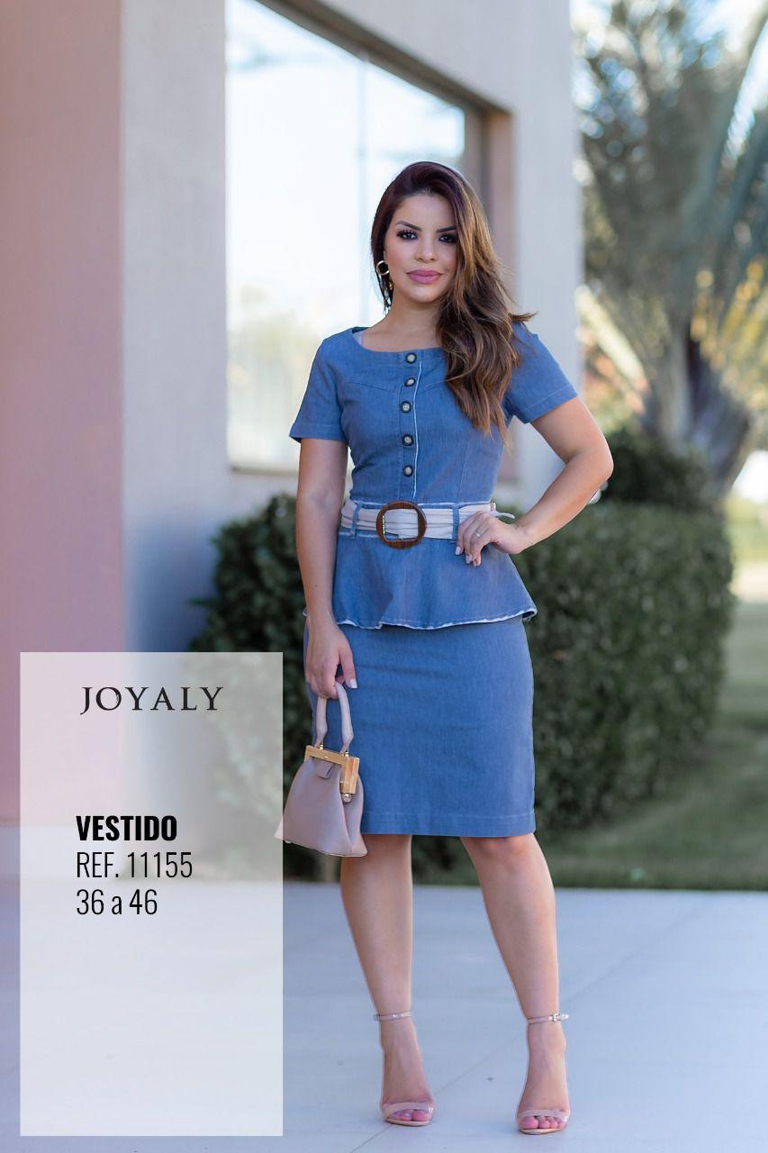 Vestido Jeans Alfaiataria Lançamento Joyaly (11155)