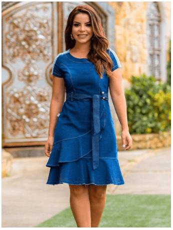 Vestido Jeans Babado - Moda Evangélica Lançamento - Raje (18200 T)