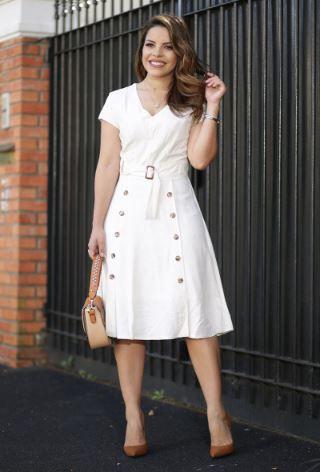 Vestido lady like linho c/Abotoamento frontais-Lançto Kauly 2020