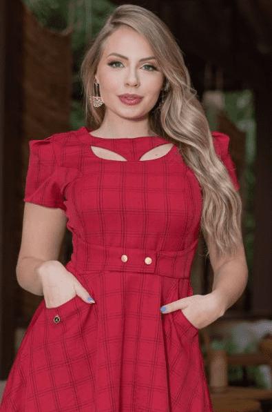 Vestido Lady Like Xadrez - Moda Evangélica Kauly (3176 E)