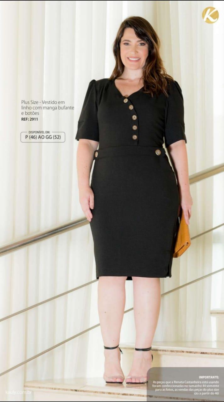 Vestido Linho Plus Size - Moda Evangélica Kauly (2911 T)