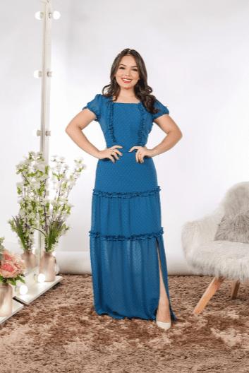 Vestido Longo C Babadinhos - Moda Evangélica Joyaly (31107 E)