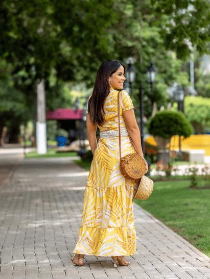 Vestido Longo C Cinto Crochê - Moda Evangélica Joyaly (30951 E)