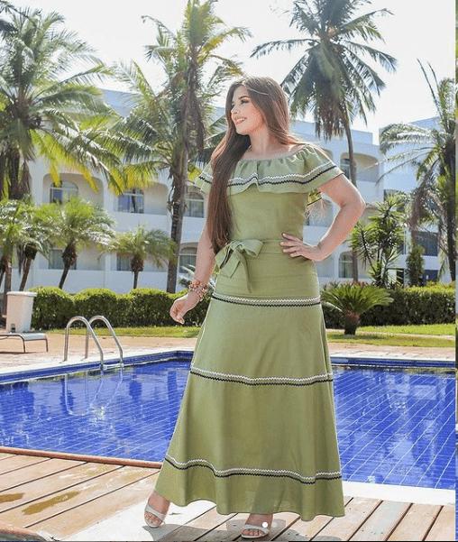 Vestido Longo C Cinto Faixa - Moda Evangélica Joyaly (30908 T)