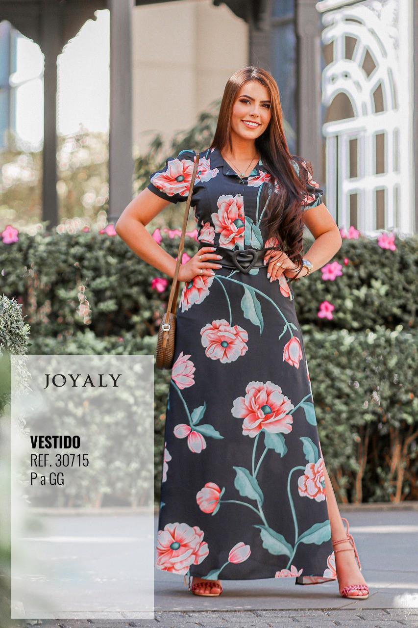 Vestido Longo C Cinto - Moda Evangélica Joyaly (30715 T)