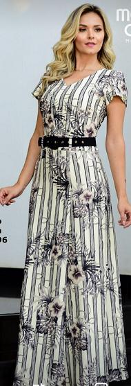 Vestido longo com cinto de Jacquard - Rafaela Maria Amore