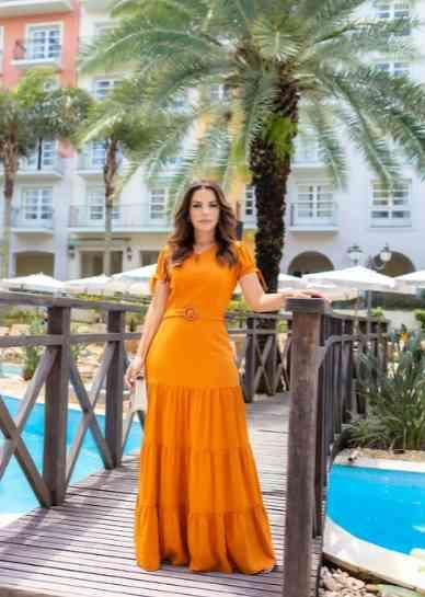 Vestido Longo com Cinto - Lacto Joyaly (30412)