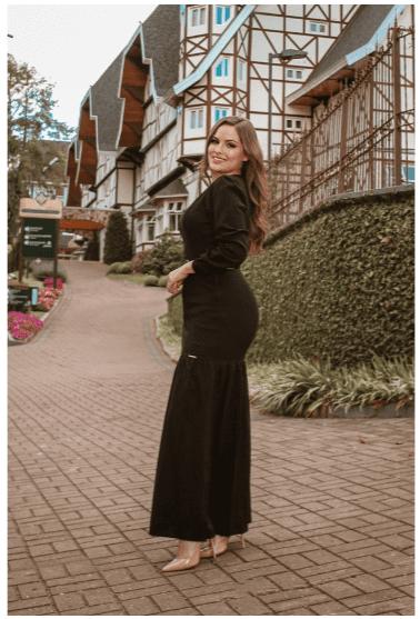 Vestido Longo Com Cinto Onça - Moda Evangélica Joyaly (31020 T)
