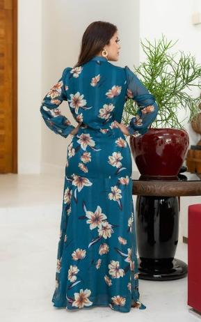 Vestido Longo Com Laço - Lançamento Joyaly (30593 E)
