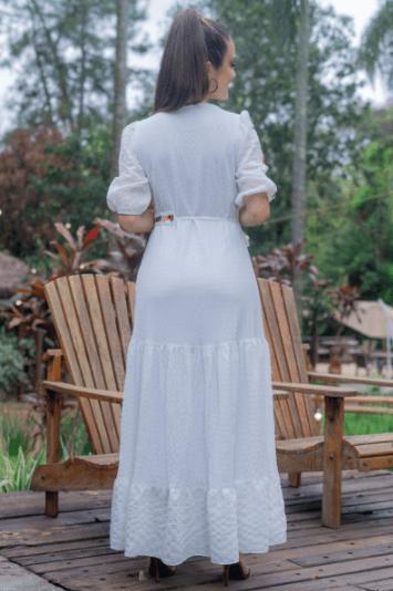 Vestido Longo Crepe - Moda Evangélica Luciana Pais Crepe (93167 E)