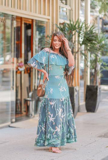 Vestido Longo Elastex - Moda Evangélica Joyaly (30675 T)