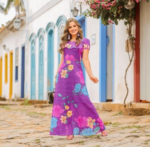 Vestido Longo Em Algodão - Moda Evangélica Joyaly (30739 E)