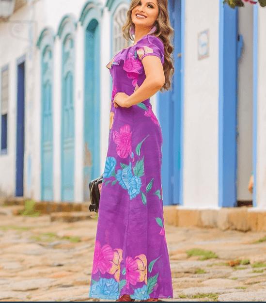 Vestido Longo Em Algodão - Moda Evangélica Joyaly (30739 T)
