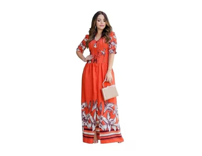 Vestido Longo Em Crepe - Moda Evangélica Lançto Kauly (2754)