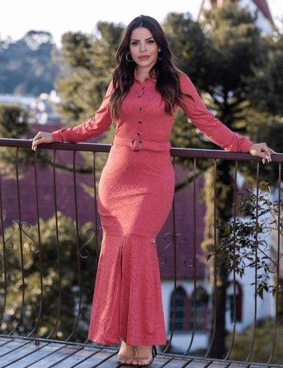 Vestido Longo Em Lasie E Cinto - Lançto Joyaly (30619 T)
