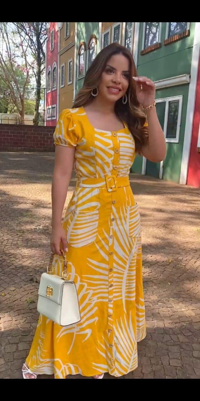 Vestido Longo Em Linho - Moda Evangélica Joyaly (30764 T)