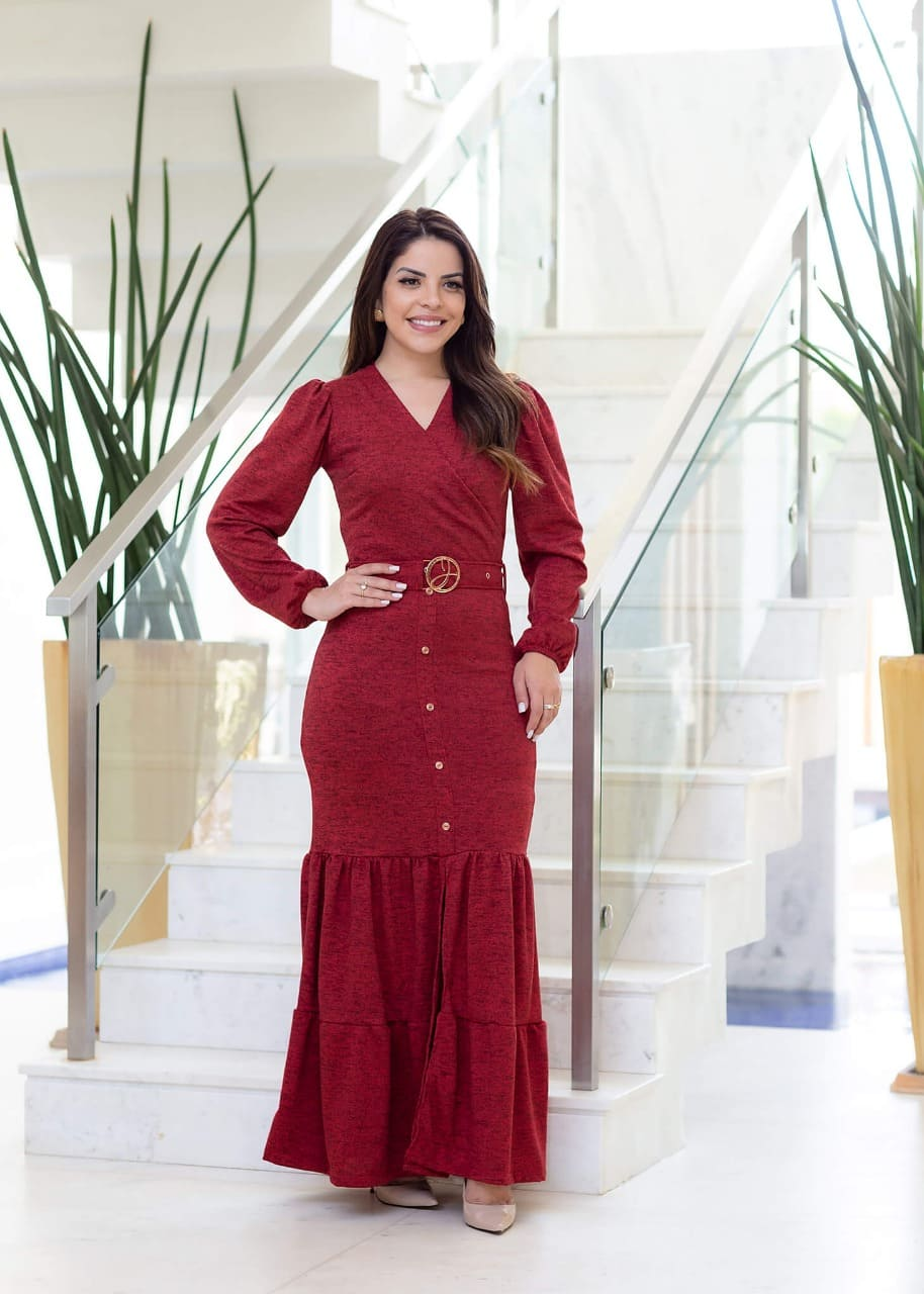 Vestido Longo Em Poliéster - Lançamento Joyaly (30653 T)