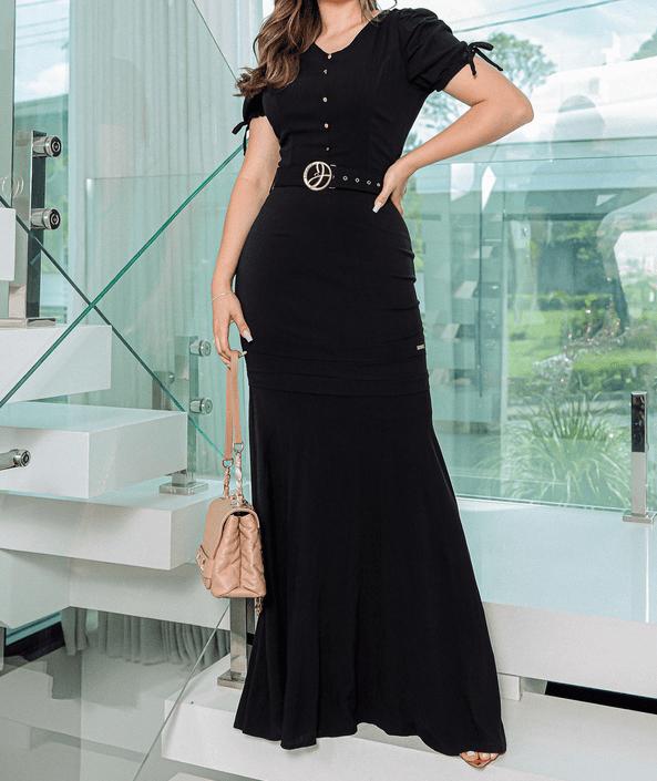 Vestido Longo Em Viscose - Moda Evangélica Joyaly (30620 E)
