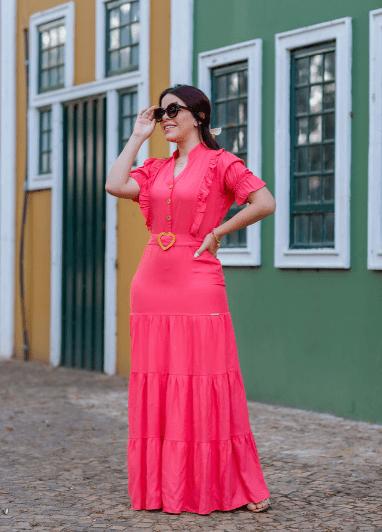 Vestido Longo Em Viscose - Moda Evangélica Joyaly (30659 T)