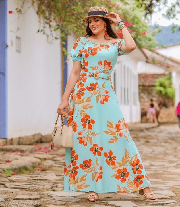 Vestido Longo Em Viscose - Moda Evangélica Joyaly (30725 T)