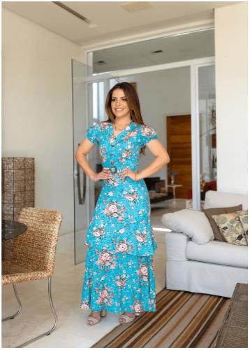 Vestido Longo Em Viscose - Moda Evangélica Joyaly (30746 T)