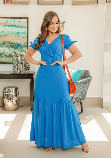 Vestido Longo Em Viscose - Moda Evangélica Joyaly (30781 E)