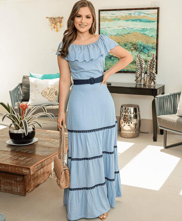Vestido Longo Em Viscose - Moda Evangélica Joyaly (30786 E)