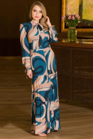 Vestido Longo Em Viscose - Moda Evangélica Kauly (2868 T)