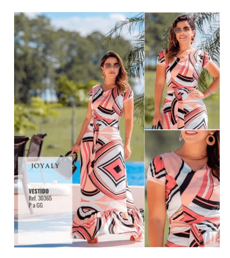 Vestido Longo Estampado - Moda Evangélica Joyaly (30365 E)