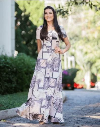 Vestido Longo Estampado Moda Evangélica Maria Amore (2688 E)