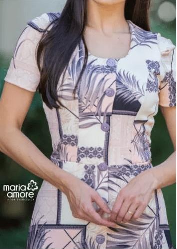Vestido Longo Estampado Moda Evangélica Maria Amore (2688)
