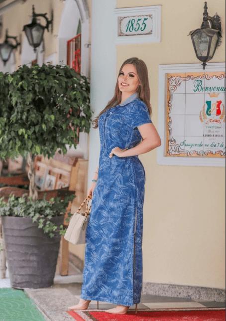 Vestido Longo Jeans - Moda Evangélica Joyaly (11618 T)