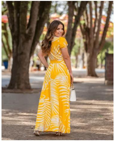 Vestido Longo Linho - Moda Evangélica Joyaly (30764 E)