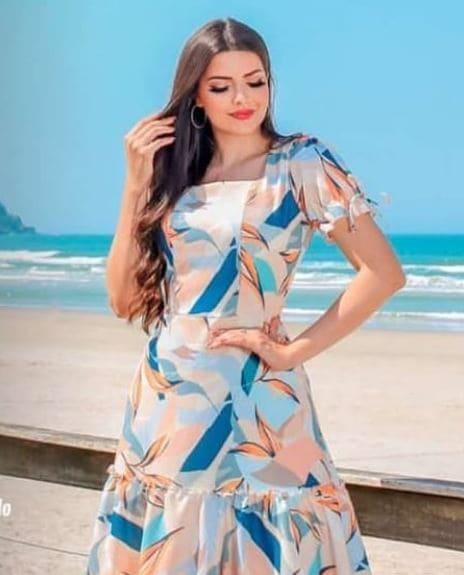 Vestido Longo Poliéster - Moda Evangélica Joyaly (31131 E)