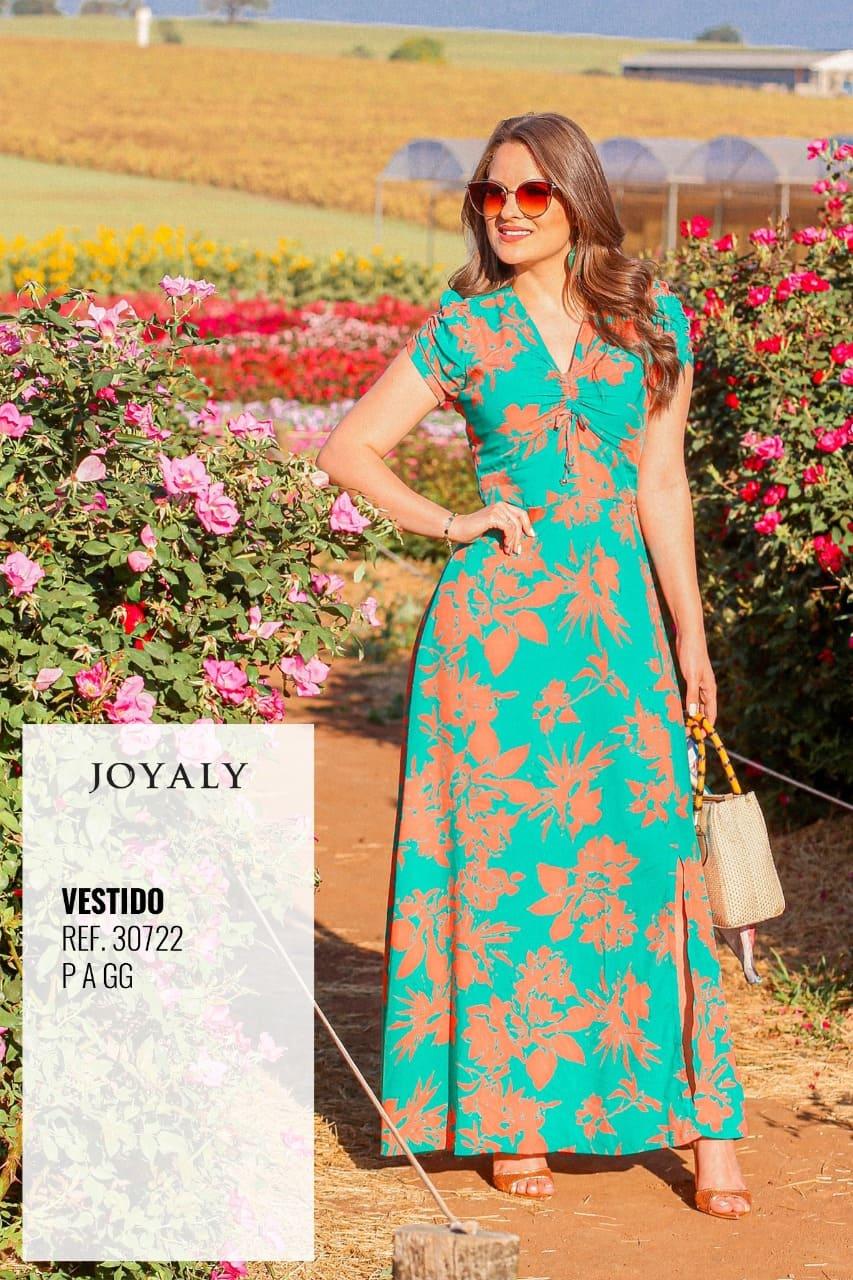 Vestido Longo Tunel No Busto - Moda Evangélica Joyaly (30722 T)