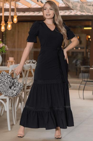 Vestido Longo Viscose - Moda Evangélica Kauly (3183 E)