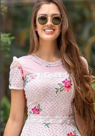 Vestido Em Renda Lurex - Moda Evangélica Maria Amore (2925 E)