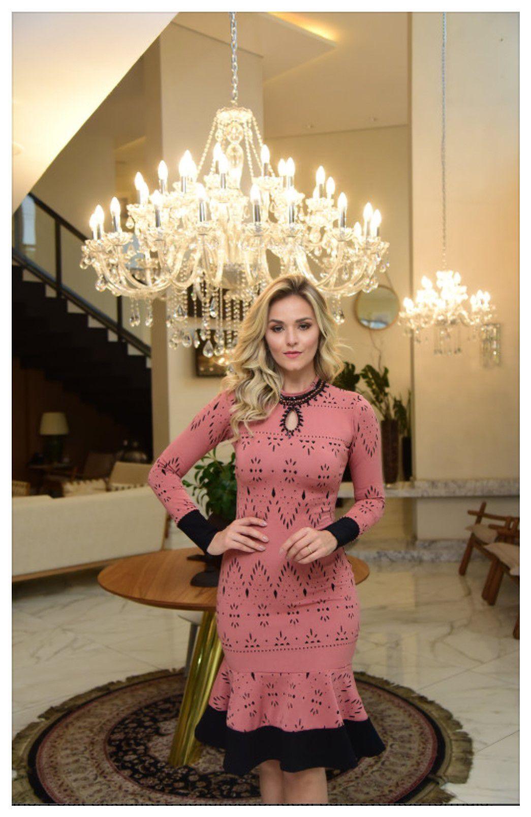 Vestido C/Babado Bordado em pérolas - Maria Amore (2502 E)