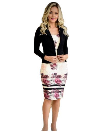 Vestido Malha Crepe C Blazer - Moda Evangélica Maria Amore (2413-E)